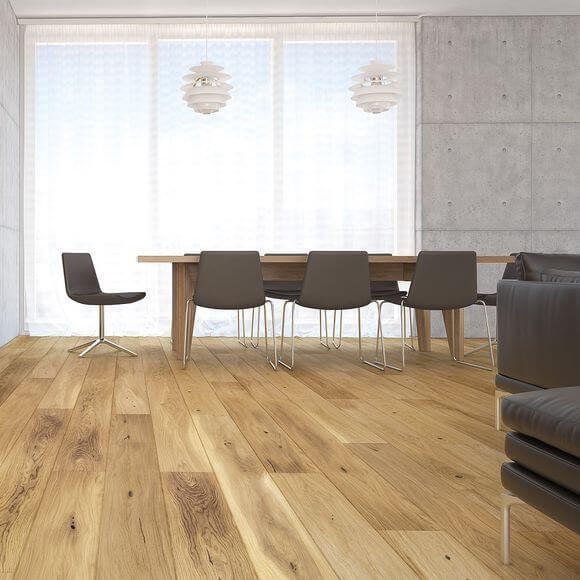 Baelea Natural Oak Brushed & Matt Lacquered 4V 1092mm x 180mm x 14/3mm Click Engineered Wood Flooring