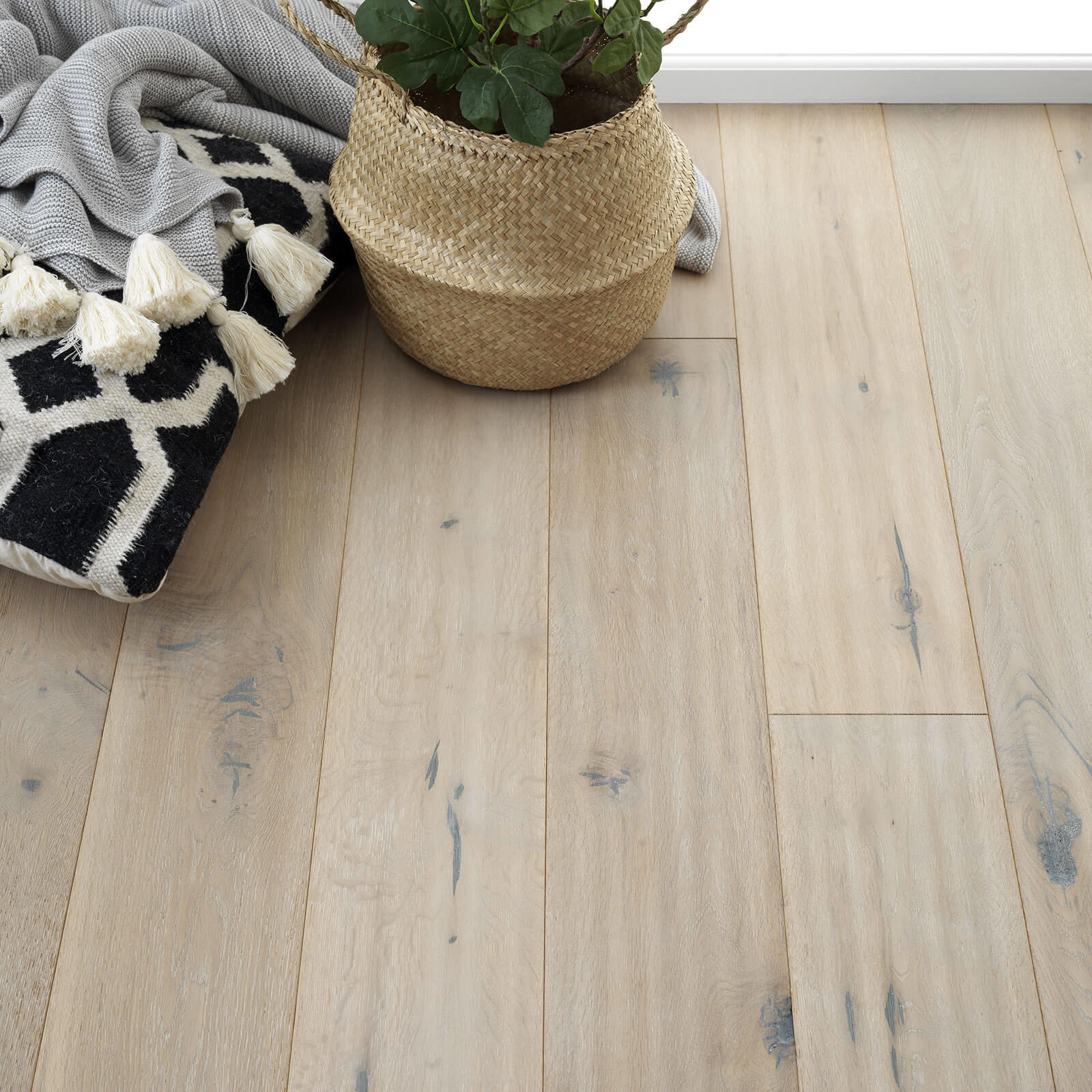 Woodpecker Berkeley Distressed Grey Oak Oiled 38-BAG-001 Engineered Wood Flooring