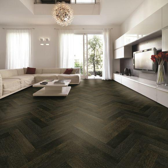 Tuscan Modelli Smoked Oak & Black Stained Brushed UV Oiled Herringbone Parquet TF30 Engineered Wood Flooring