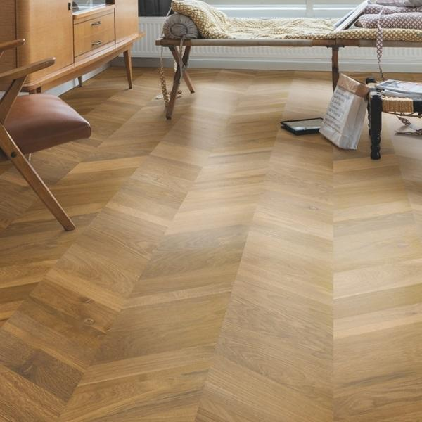 Quick-Step Intenso Traditional Oak Oiled Chevron Engineered Realwood Flooring INT3902