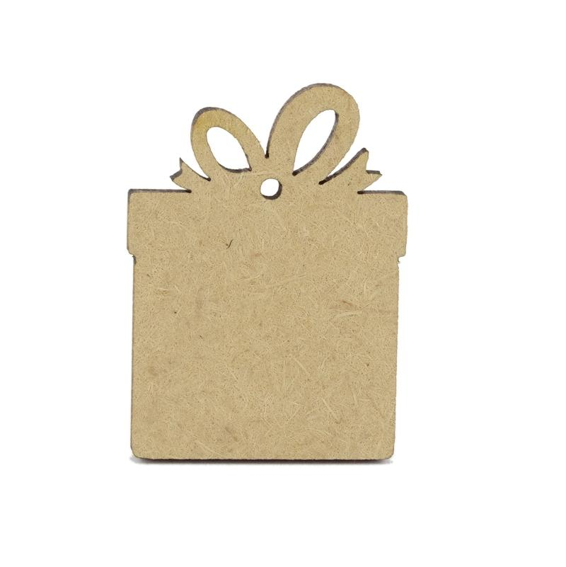 3mm MDF Wooden Present - 4 cm with hanging hole