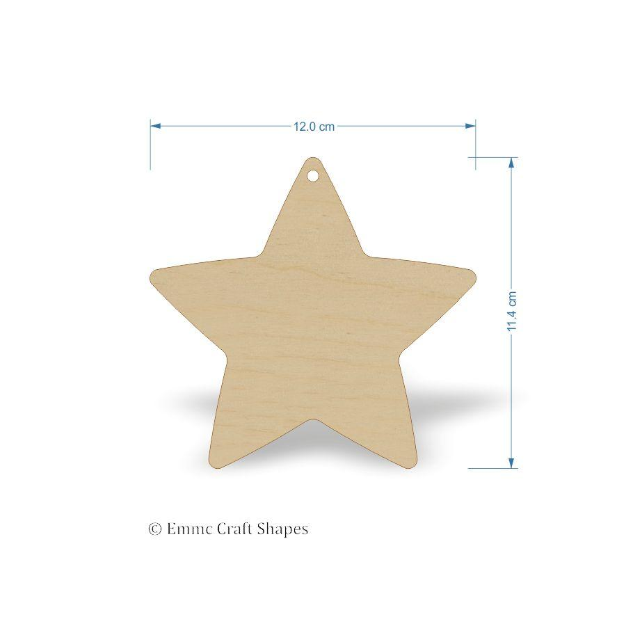 Plywood Star Shape - 12 cm with 1 hanging hole