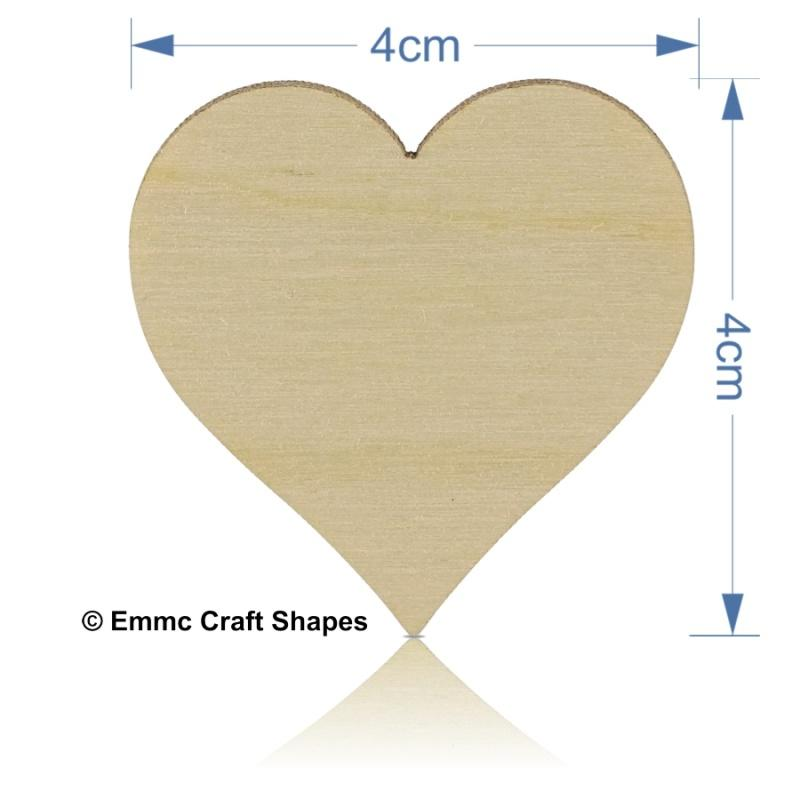 Plywood Heart - 4 cm No Holes