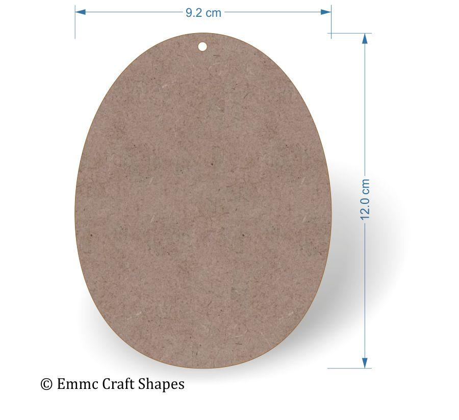 2 mm MDF egg shape with hole - 12 cm
