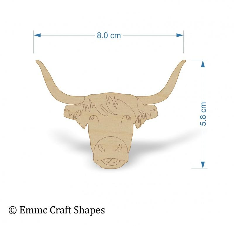 Plywood Cow Head - 8 cm Etched