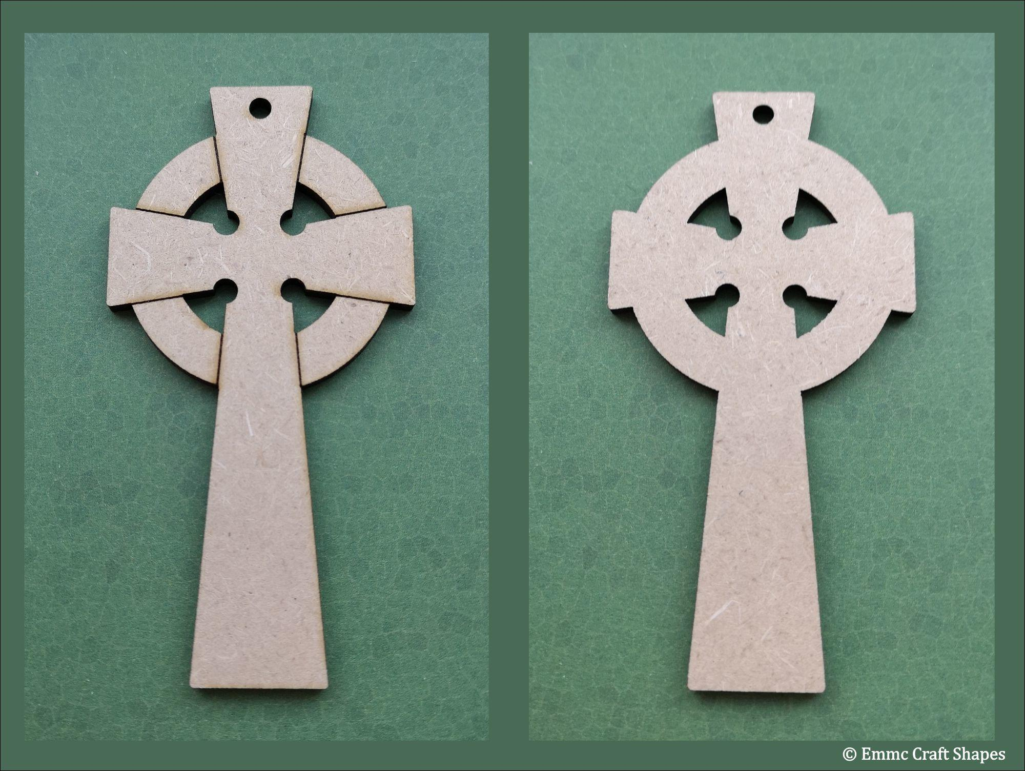 Showing the etched front and the plain back of the celtic cross. Laser cut from 3mm MDF.