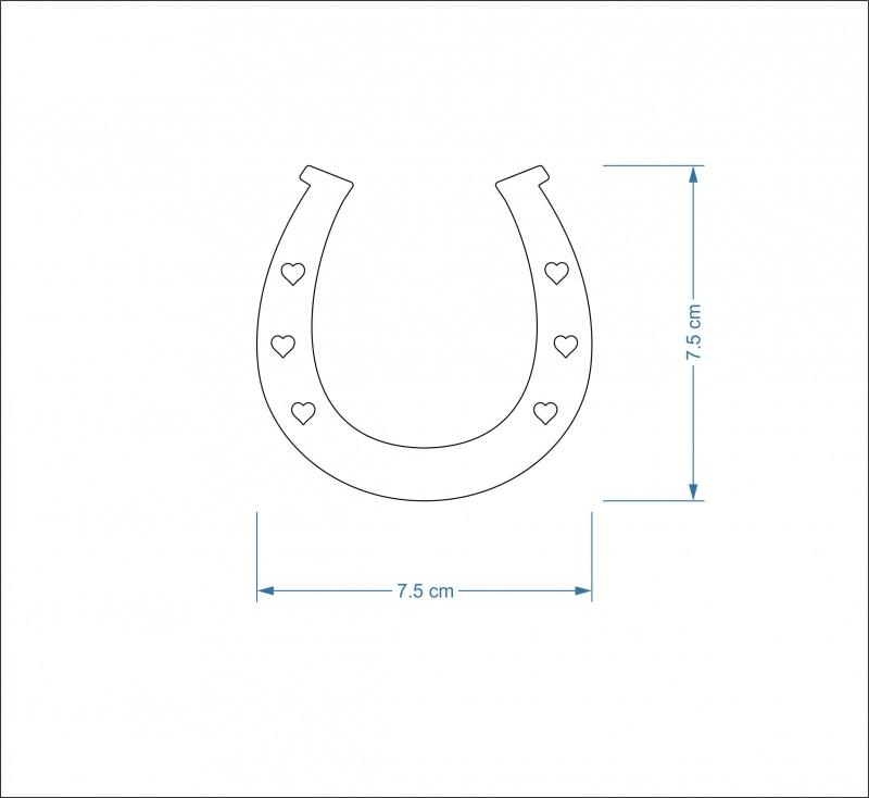 3mm MDF Horseshoe Craft Hanger/Tag - 7.5 cm with heart holes