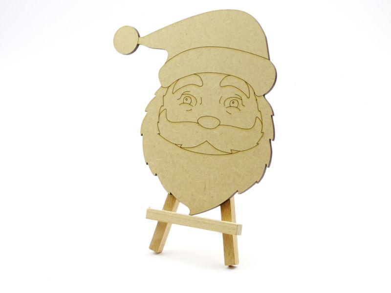 3 mm MDF Father Christmas Face with etched detail - 15 cm without hanging hole