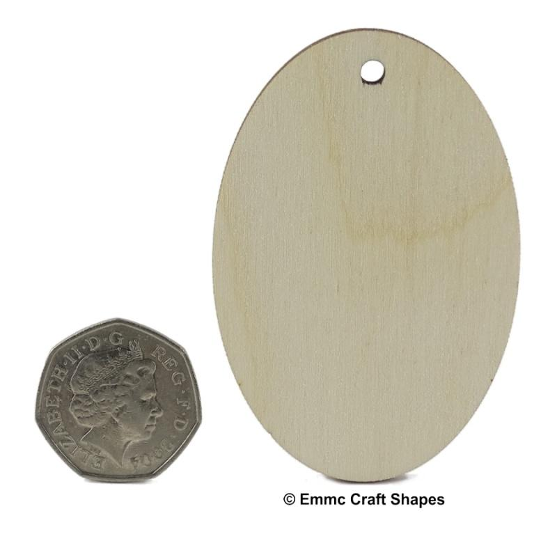 Plywood Oval Key Fob - 7.5 cm with hanging hole