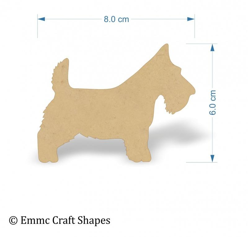 3mm MDF Scottie Dog - 8 cm