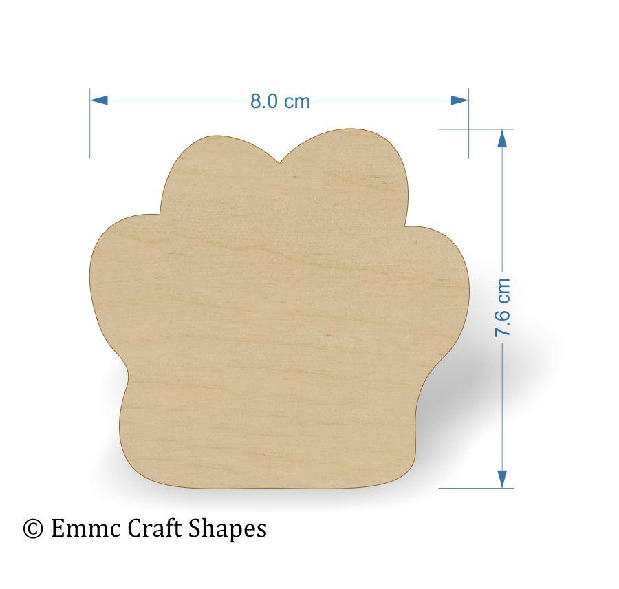 Plywood Cat/Dog Paw Print Tags - 8 cm blank