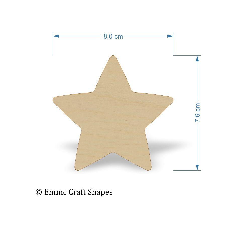 Plywood Star Shape - 8 cm Blank