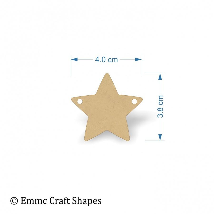 3mm MDF Star Shape Blank - 4 cm with 2 hanging holes, bunting style