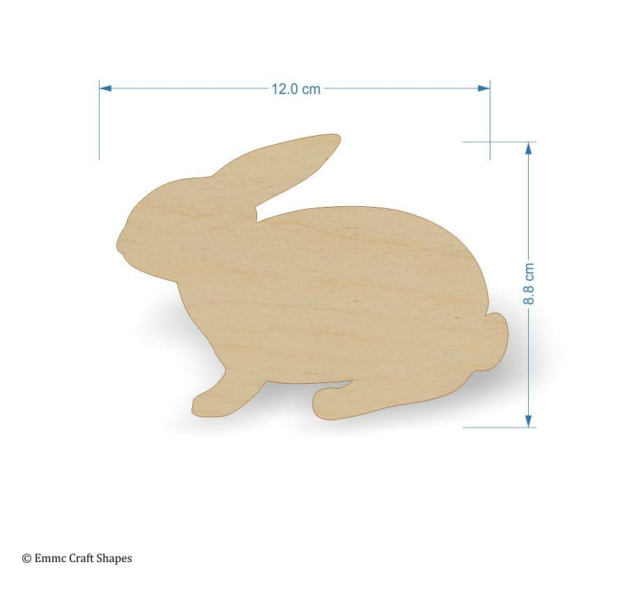Plywood wooden rabbit craft shape - 12 cm