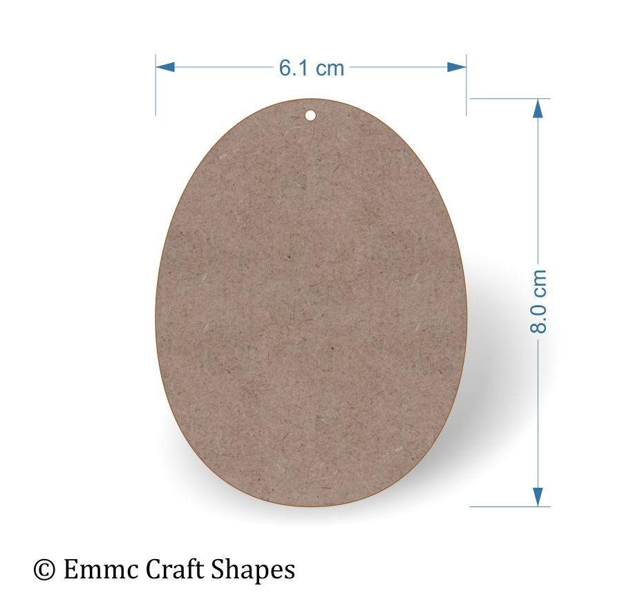 2 mm MDF egg shape with hole - 8 cm