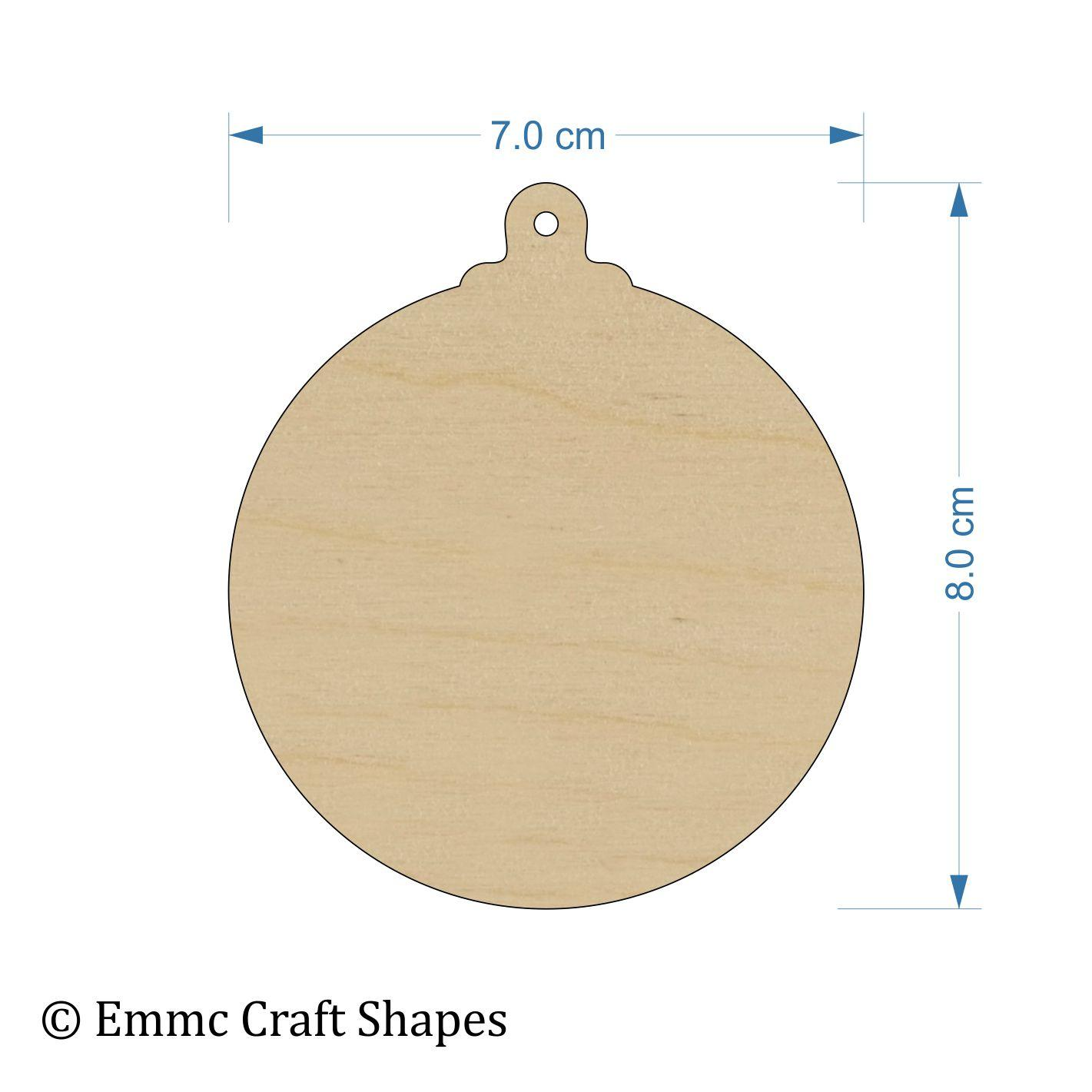 Plywood Bauble - 8 cm With Hanging Hole
