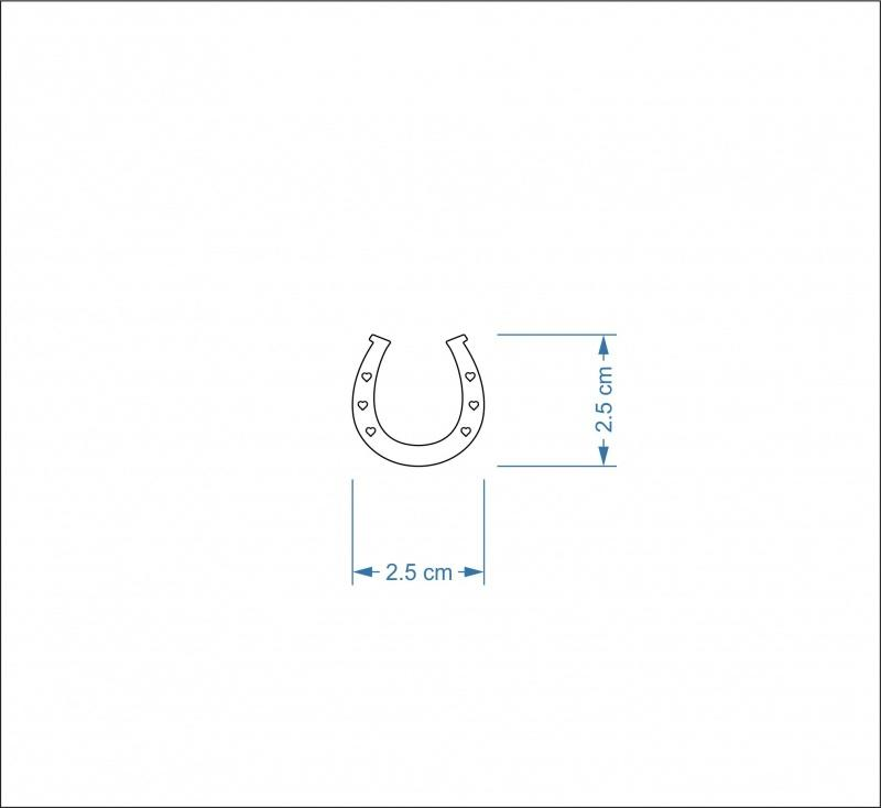 3mm MDF Horseshoe Craft Hanger/Tag - 2.5 cm with heart holes