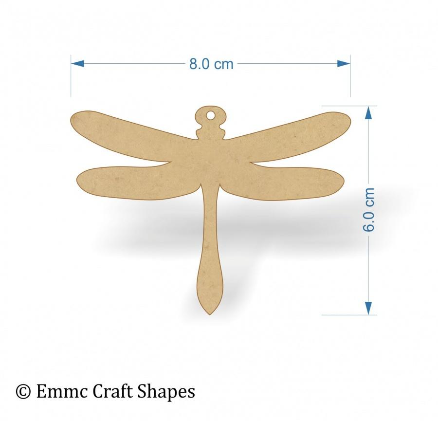 Dragonfly Shapes - 8 cm with hanging hole
