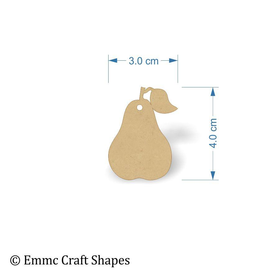 3mm MDF Pear Shapes - 4 cm with hanging hole