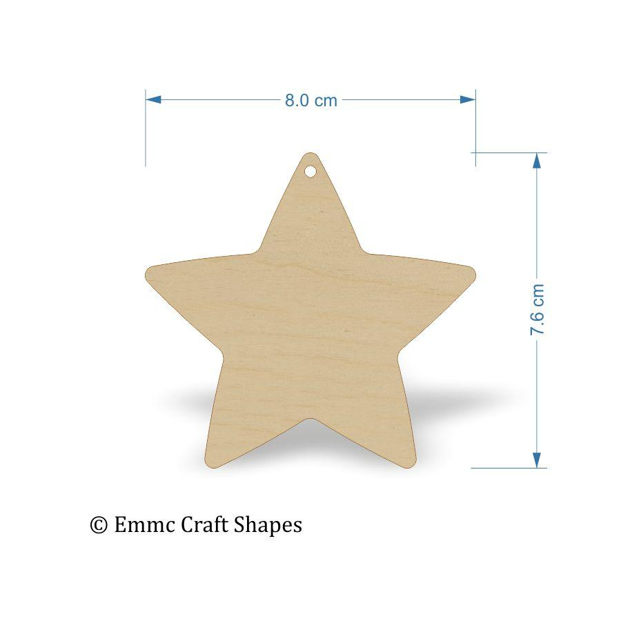 Plywood Star Shape - 8 cm with 1 hanging hole