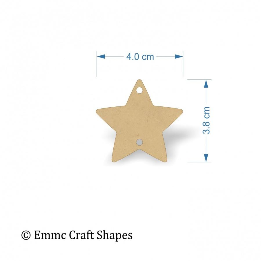 3mm MDF Star Shape Blank - 4cm with hanging hole top and bottom
