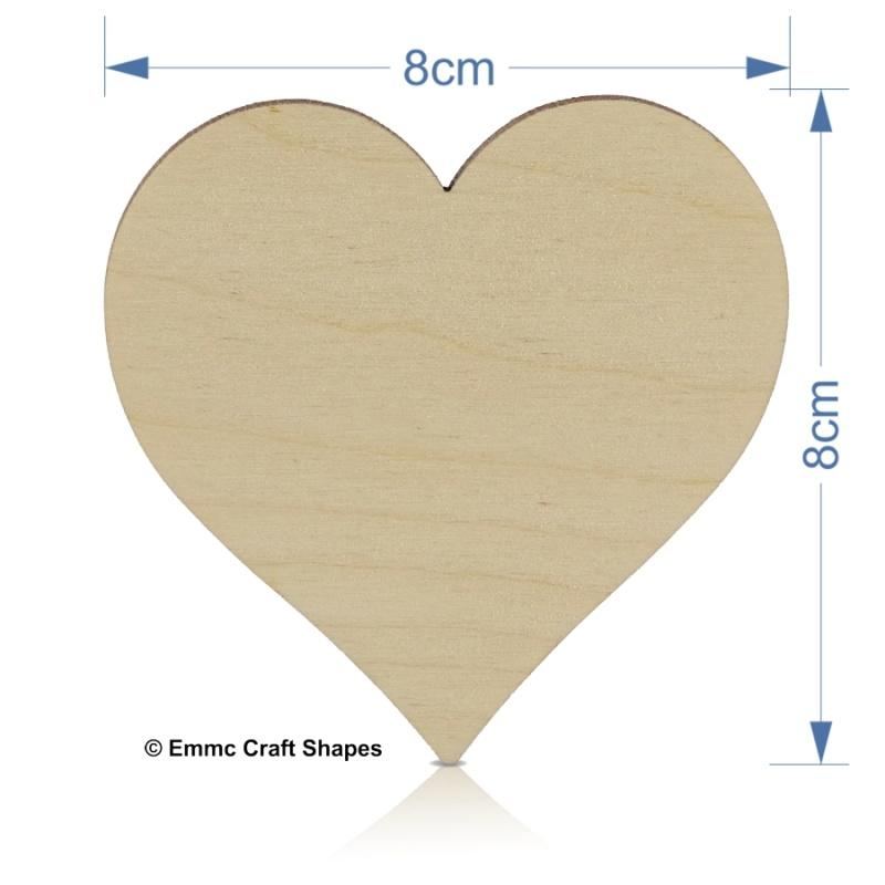 Plywood Heart - 8 cm No Holes