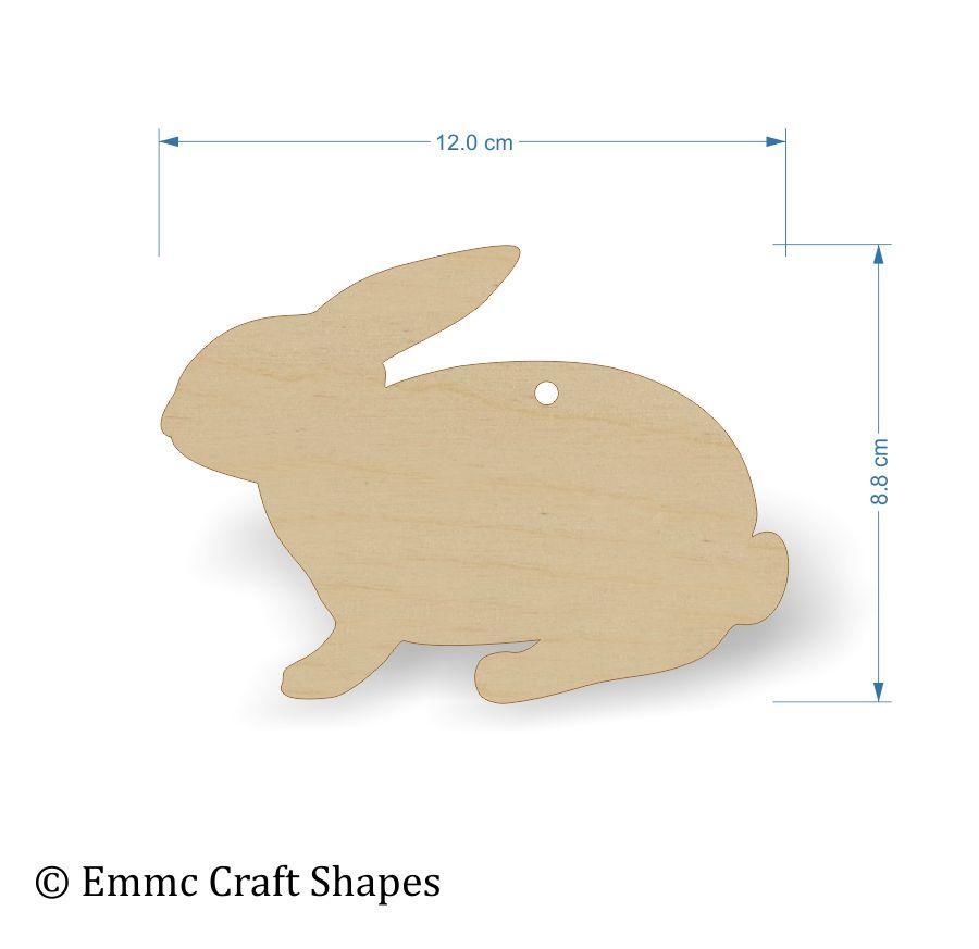 plywood wooden rabbit craft shape - 12 cm with hanging hole