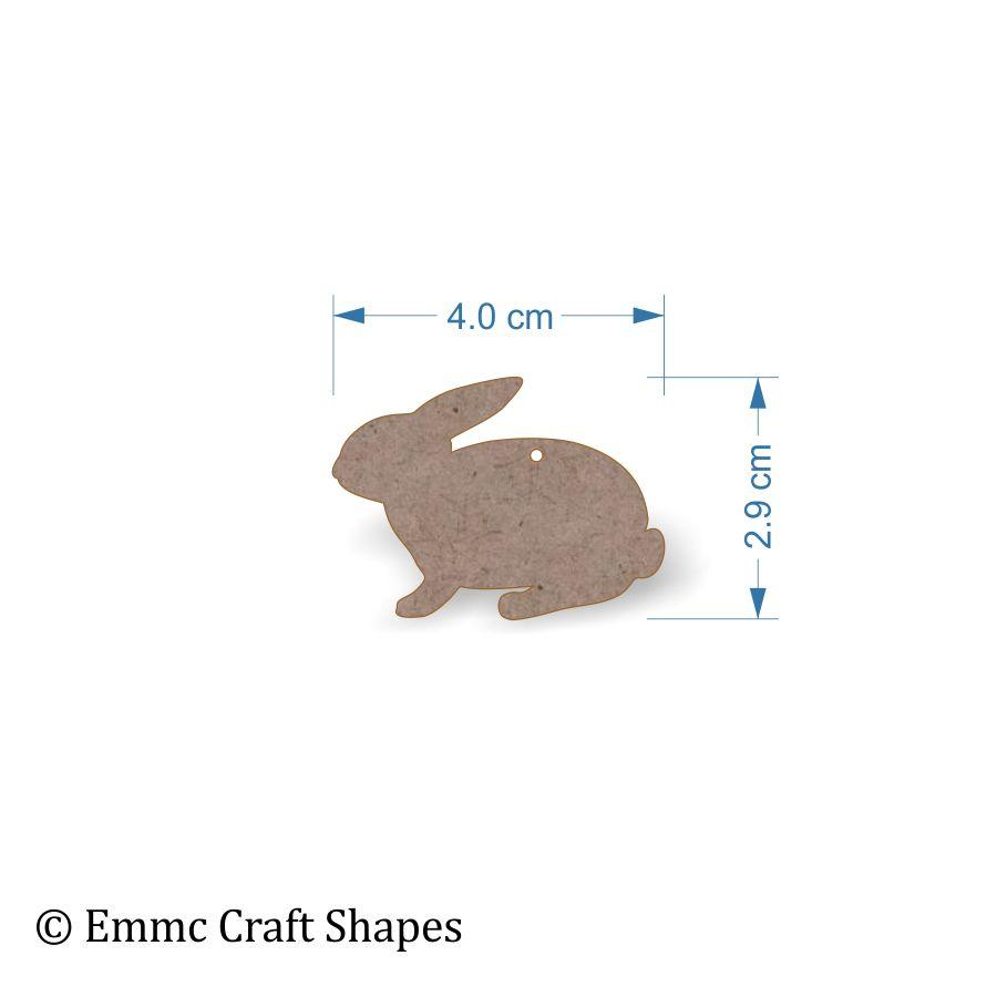 2mm MDF Rabbit Craft Tags - 4 cm with hanging hole