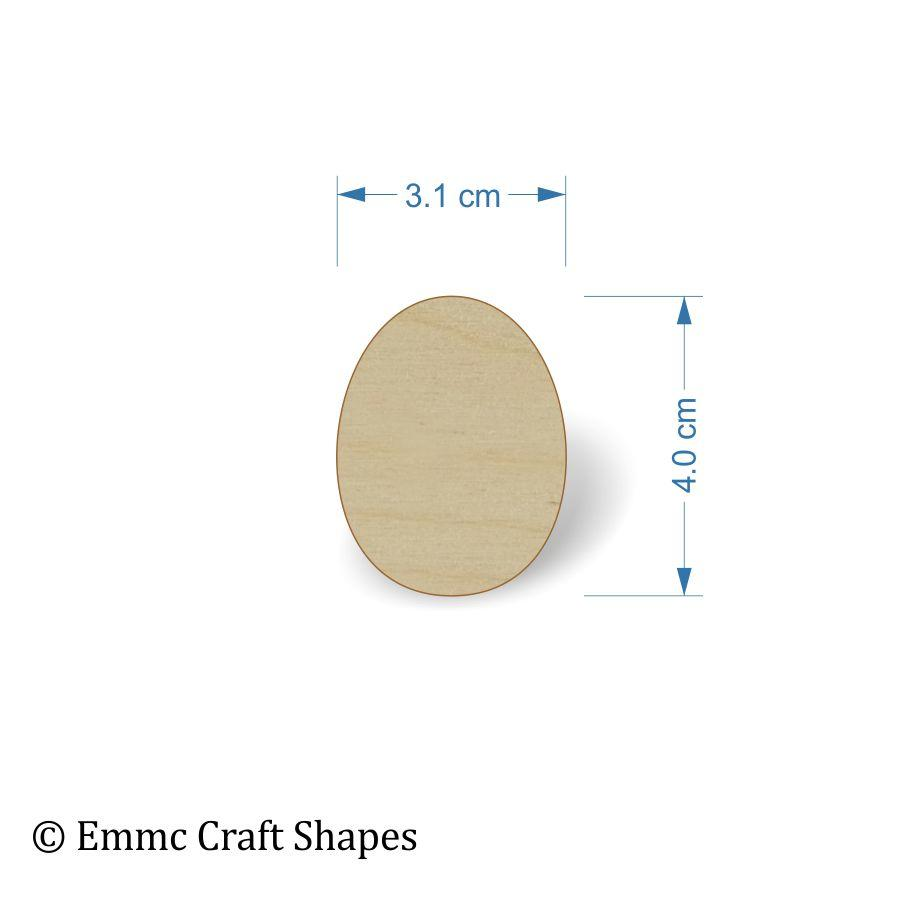 Plywood Egg Shape - 4 cm without hanging hole