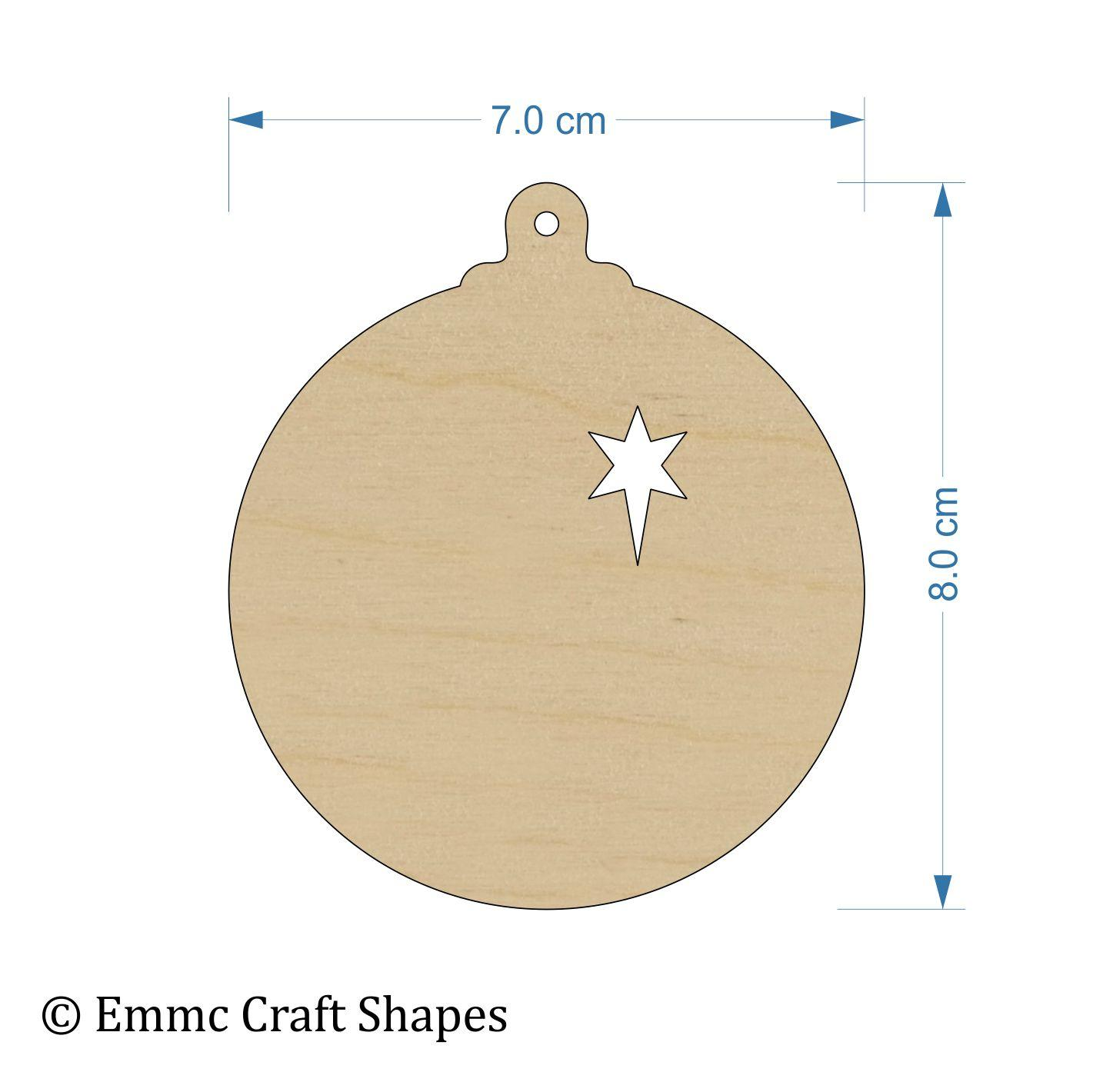 Plywood Bauble - 8 cm With Star Cut Out and Hanging Hole