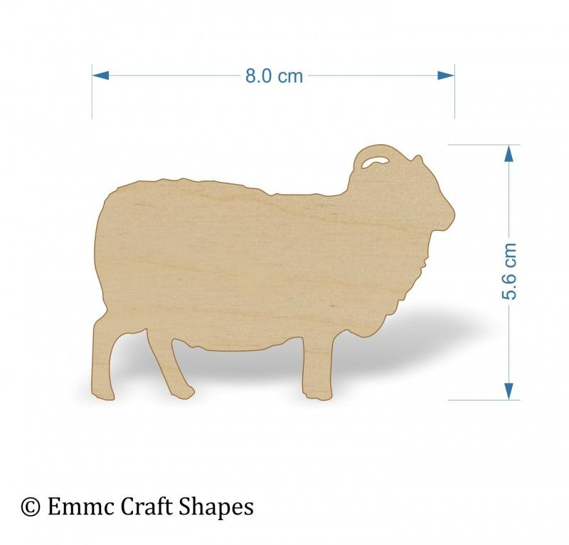 Plywood Sheep Shapes - 8 cm
