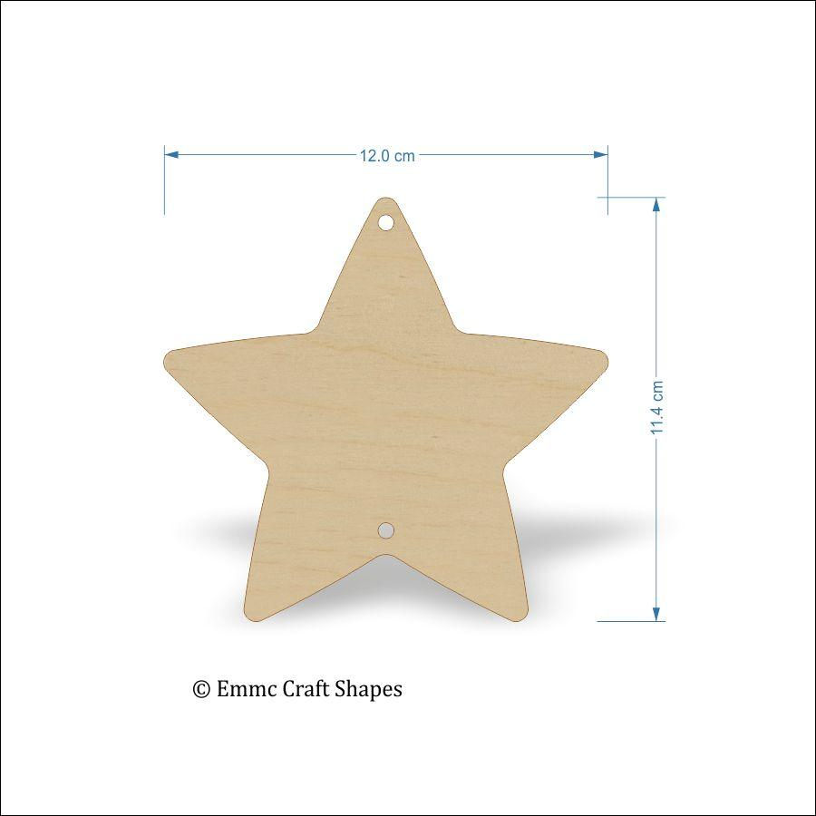Plywood Star Shape with 1 hole top and 1 hole bottom