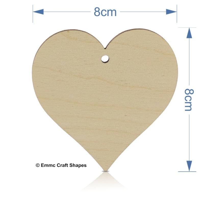 Plywood Heart - 8 cm with centre hanging hole
