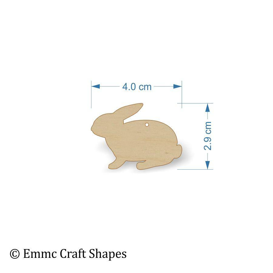 Plywood wooden rabbit craft shape - 4 cm with hanging hole