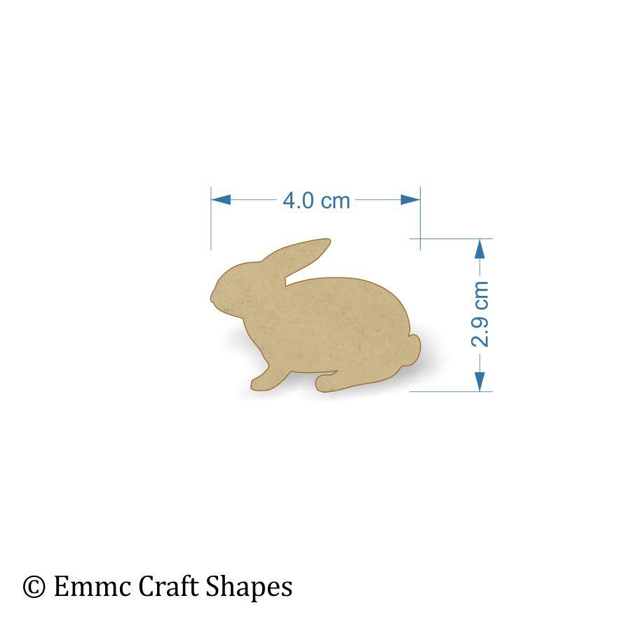 3mm MDF Rabbit Craft Tags - 4 cm