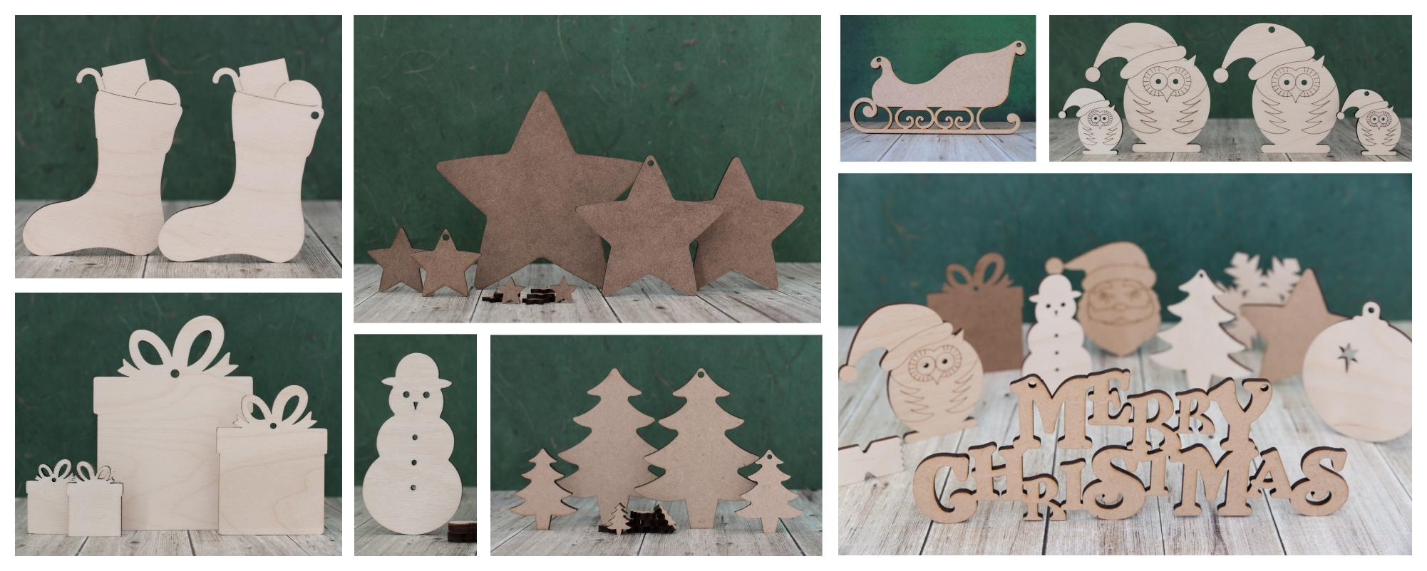 Wooden craft shapes banks and cutouts for Wooden christmas cutouts