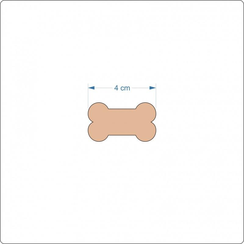 3 mm MDF Dog Bone Blanks - 4 cm without hanging hole