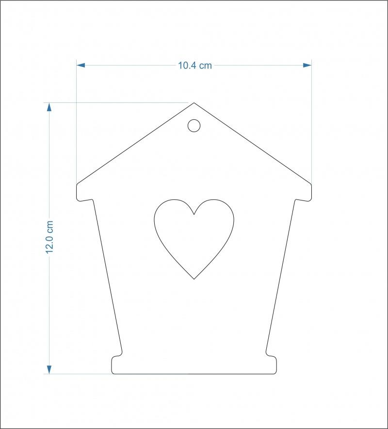 3mm thick mdf bird house fronts - 12 cm Heart hole/Hanging hole