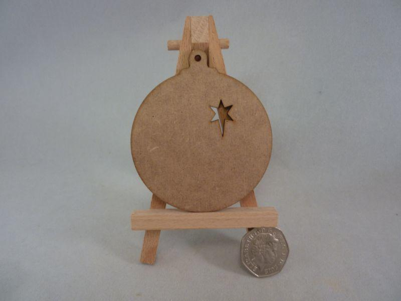 2 mm MDF Baubles - 8 cm with hanging hole and star cut out