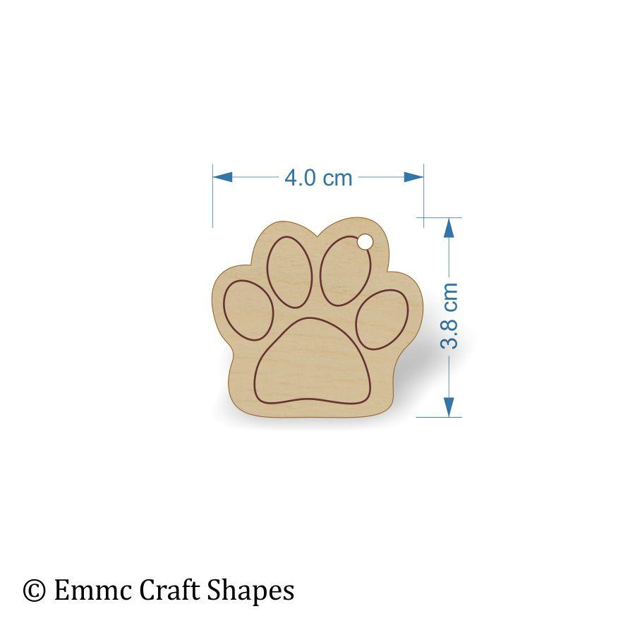 Plywood Cat/Dog Paw Print Tags - 4 cm etched and with hanging hole