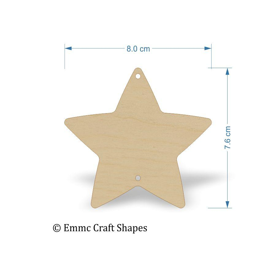 Plywood Star Shape - 8 cm with 1 hole top/1 hole bottom