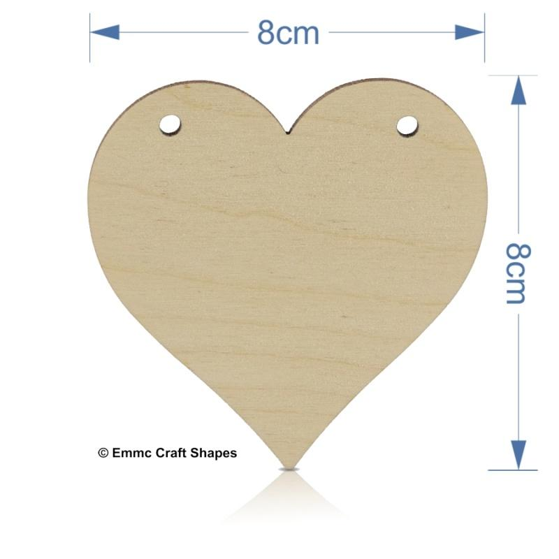 Plywood Heart - 8 cm with bunting style hanging holes