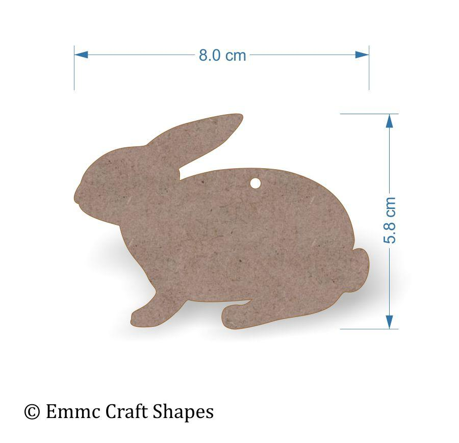 2mm MDF Rabbit Craft Tags - 8cm with Hanging Hole