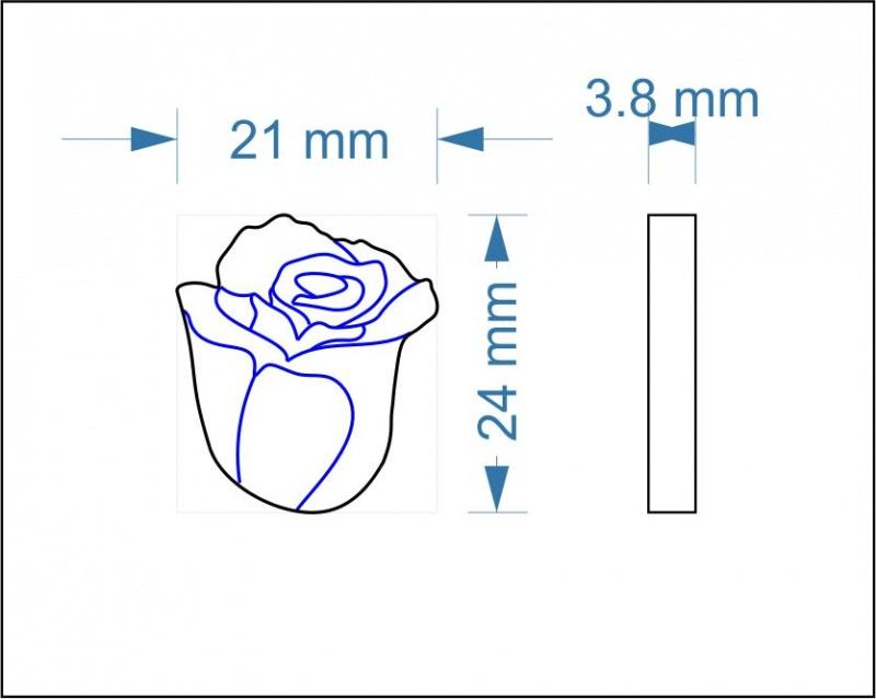 Plywood Rose Bud Shape with Etched Detail - 2.4 cm