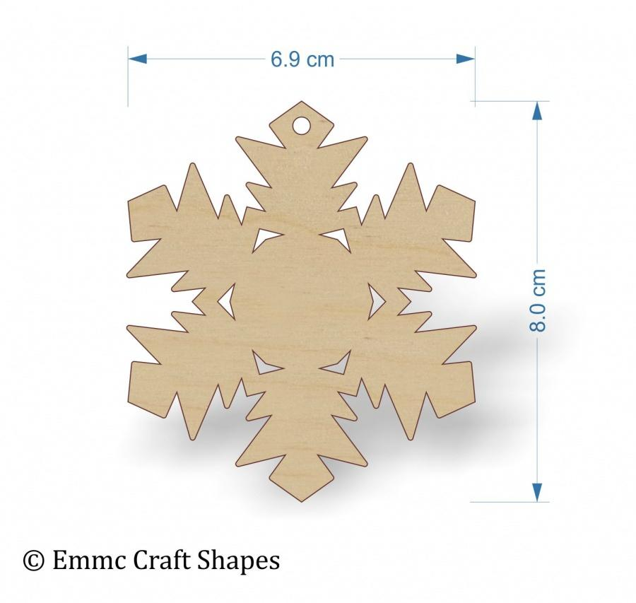 Plywood Snow Flake Cut Out - 8 cm with hanging hole