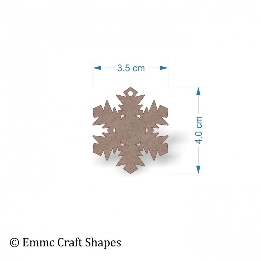 2mm MDF Snowflake Shape - 4 cm with hanging hole