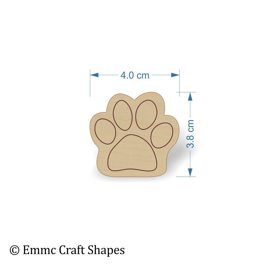 Plywood Cat/Dog Paw Print Tags - 4 cm with etched