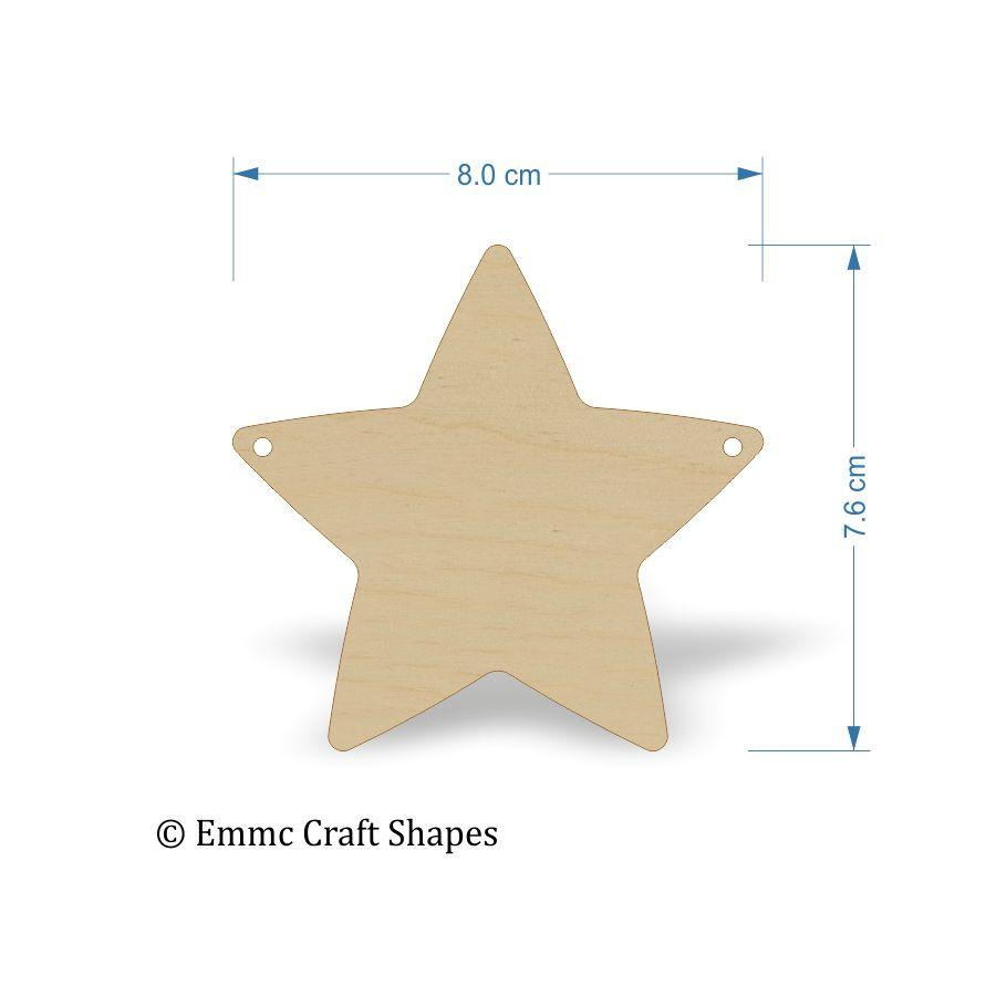 Plywood Star Shape - 8 cm with bunting style