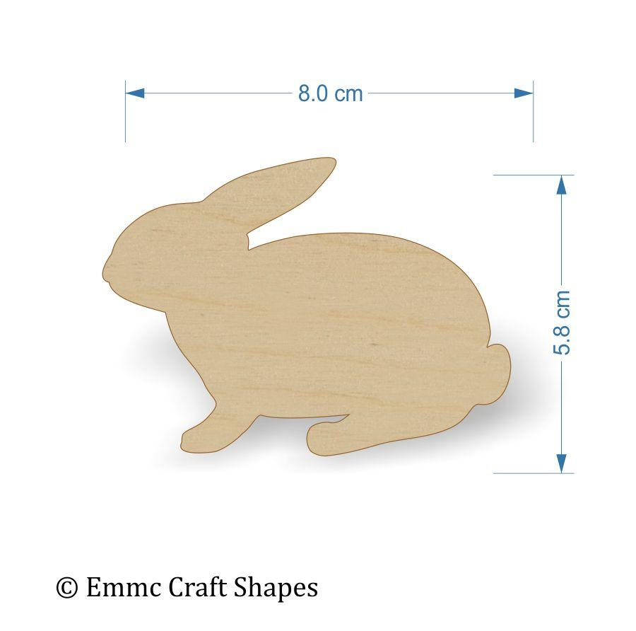 Plywood wooden rabbit craft shape - 8 cm