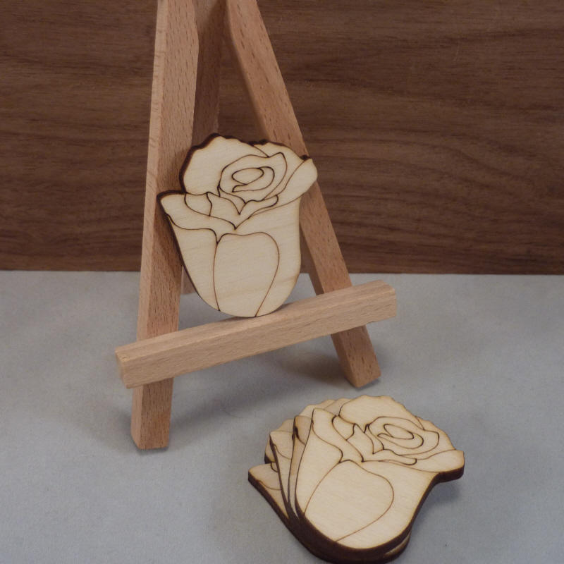 Plywood Rose Bud Shape With Etched Detail